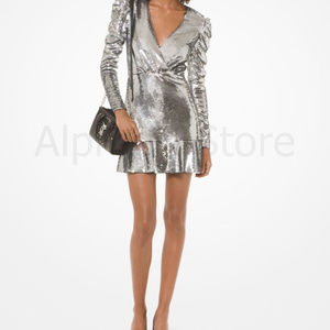 NWT Michael Kors Sequined Ruched-Sleeve Dress